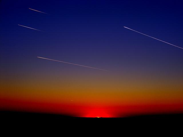 Streaming, Planes, Stripes, Flying, Sky, Cloud, Sunset