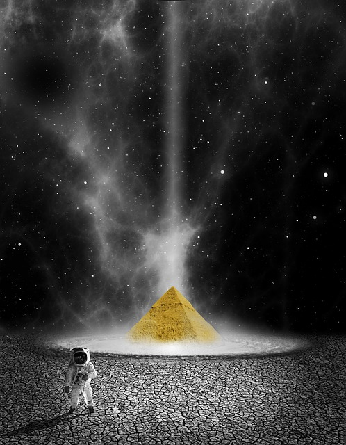 Planet, Astronaut, Space, Pyramid, Universe
