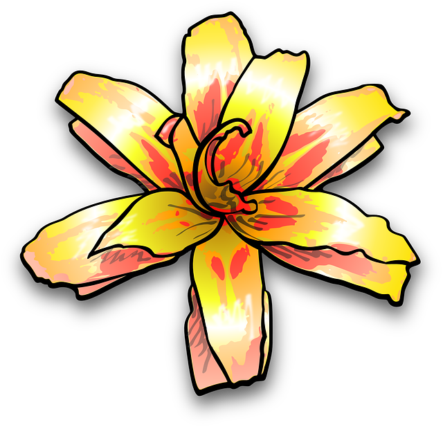 Lily, Flower, Yellow, Painterly, Colour, Plant