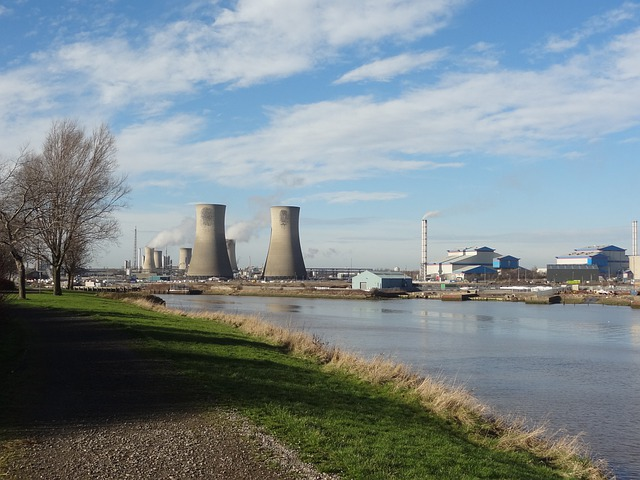 Cooling Towers, River, Industry, Plant, Power Plant
