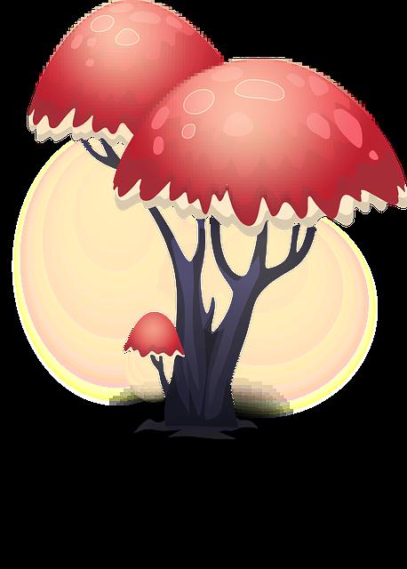 Decorative, Red, Trees, Bright, Plants, Illuminated
