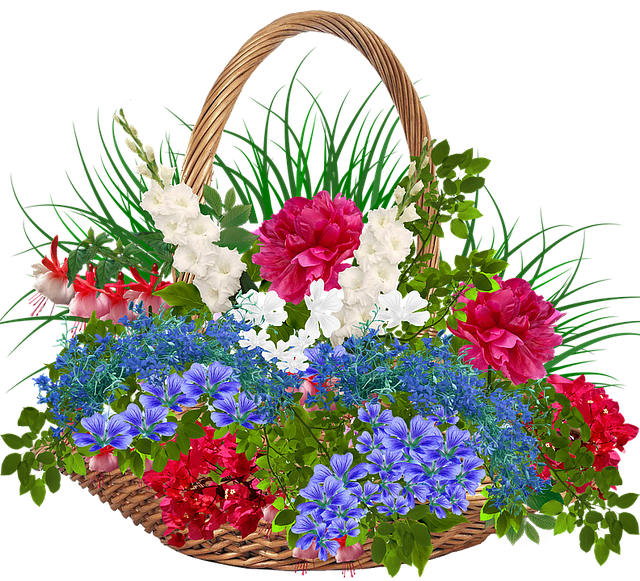 Recycle Bin, Wicker, Basket, Flowers, Plants, Red