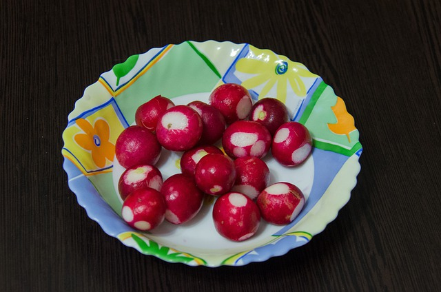 Radishes, Root Crop, Red, Plate