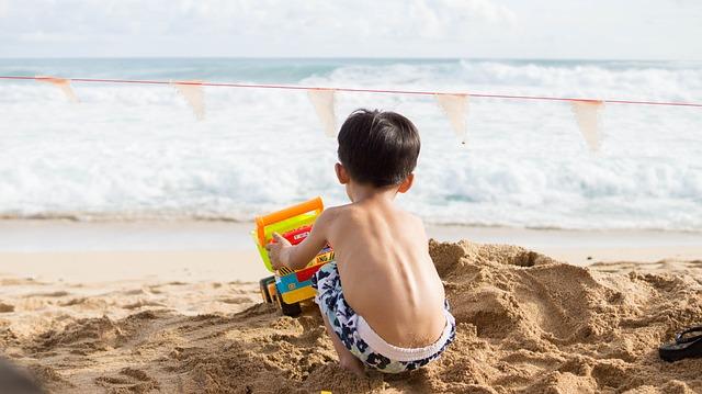 Play, Sand Beach, Hai Bian, Boy, Holidays, Summer