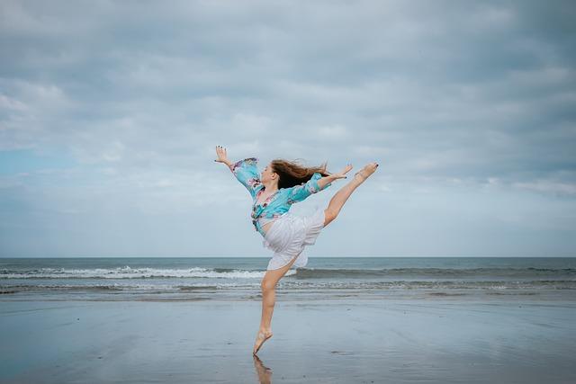Female, Beach, Dance, Jump, Play, Girl, Joy, Outdoors