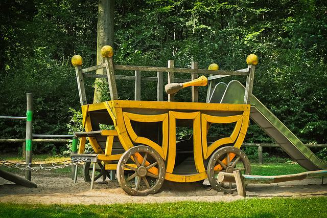 Coach, Playground, Wood, Play, Children, Game Device
