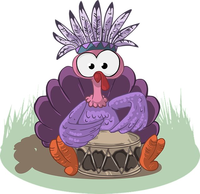 Turkey, Indian, Drum, Cute, Musician, Play, Feather
