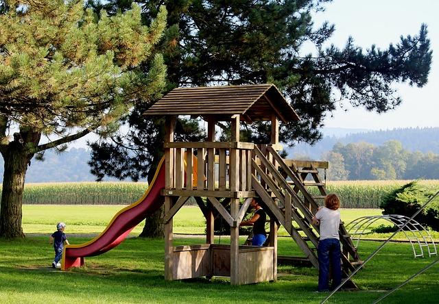 Playground, Slide, Children, Climbing Tower, Autumn