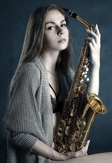 Saxophone, Girl, Portrait, Playing, Music, Beauty