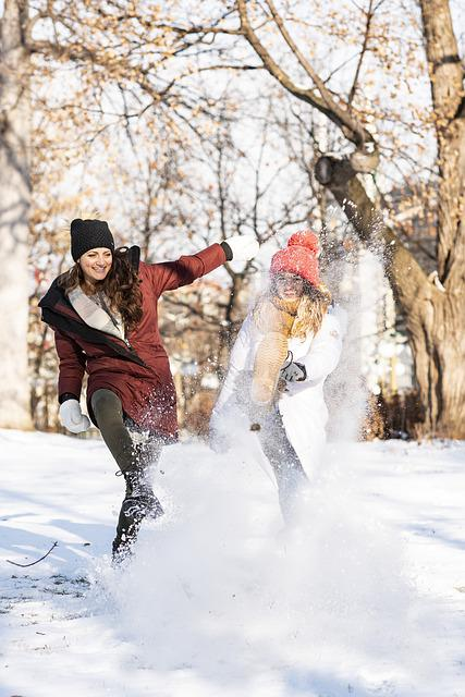 Women, Snow, Friends, Happy, Playing