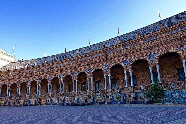 Plaza De Espania, Palace, Colonnade, Seville, Historic