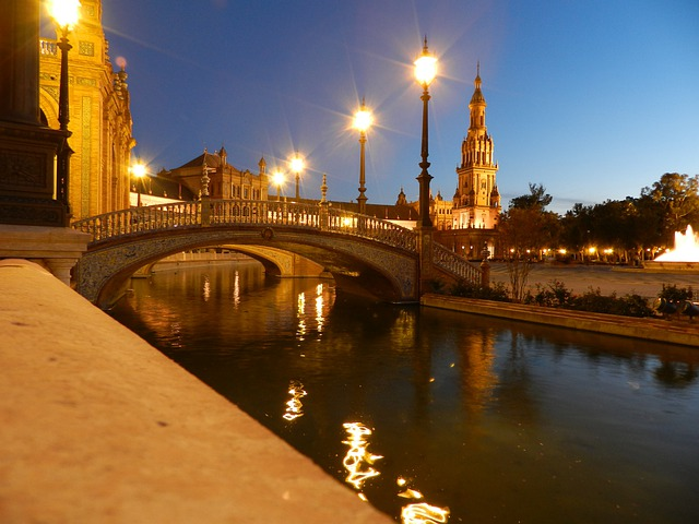 Plaza España, Seville, Lights