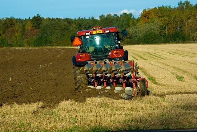 Field, Autumn, Plow, Tractor