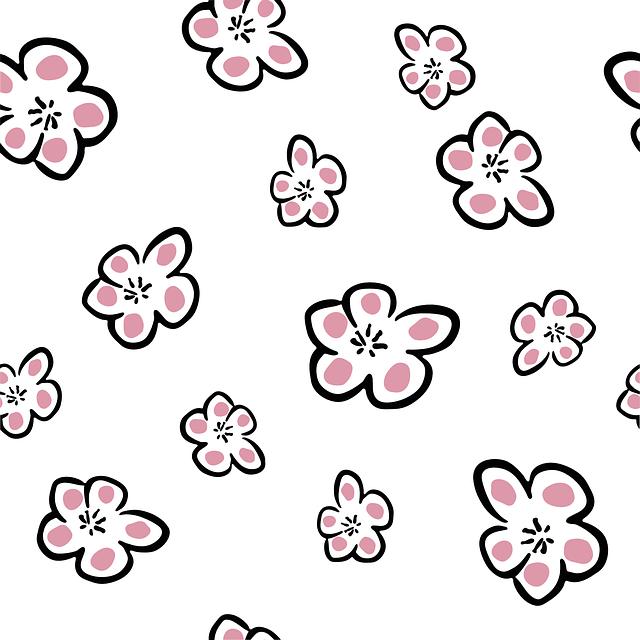 Plum, Seamless, Pattern, Flower, Flowers, Freehand
