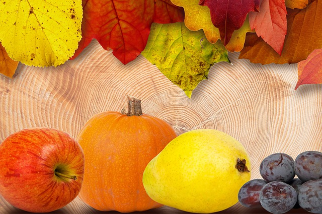 Leaves, Fruits, Apple, Pear, Pumpkin, Plums, Colorful