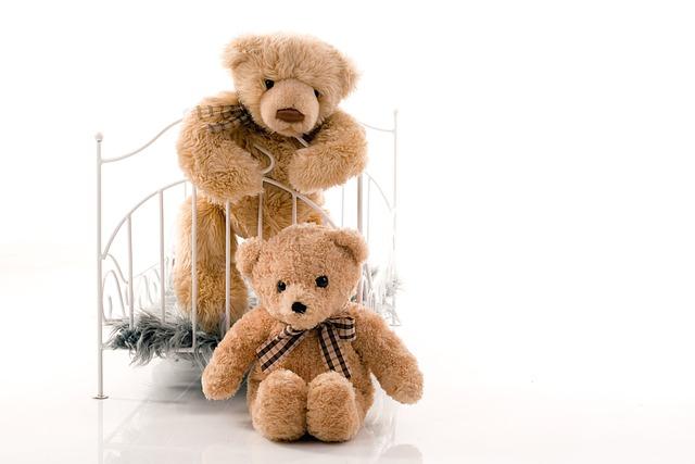 Teddy Bear, Bears, Plush, Standing, Sitting, Bed, Crib