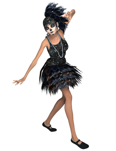 Thin, Lady, Sugar, Skull, Feathers, Png, Render, Model