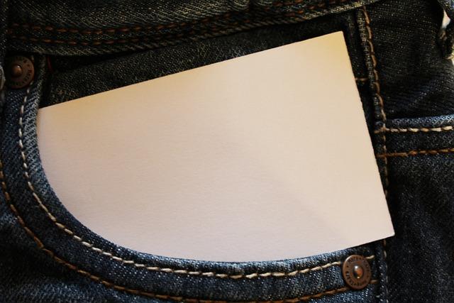 Jeans, Bag, Pocket, Business Card, Pants, List