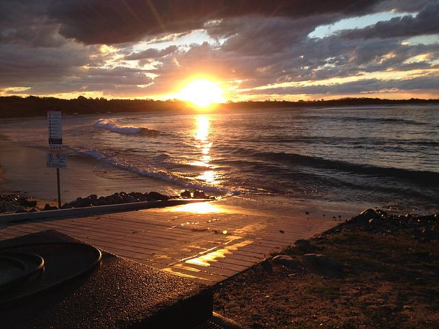 Sunset, Point Plomer, Nsw, Australia, Beach, Sea, Ocean