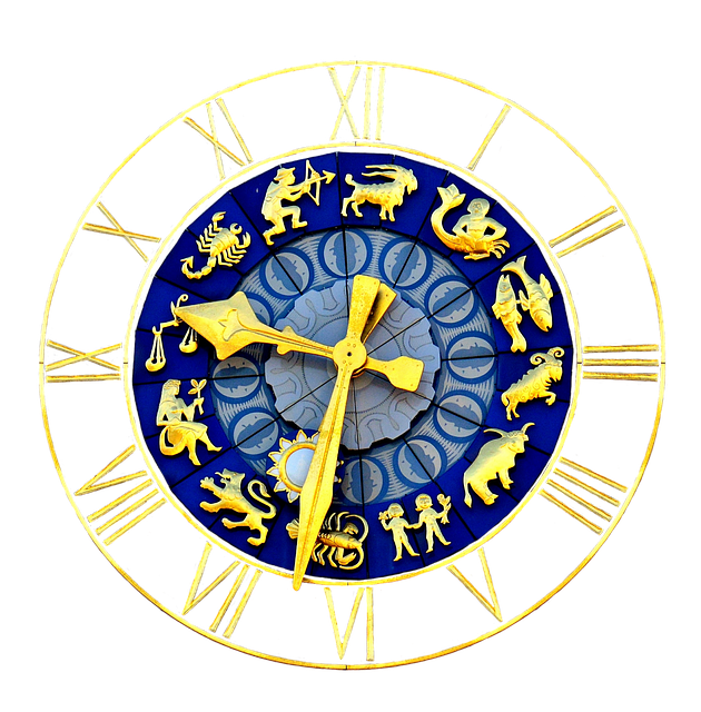 Clock, Zodiac Sign, Time Of, Pointer, Dial Gold, Blue