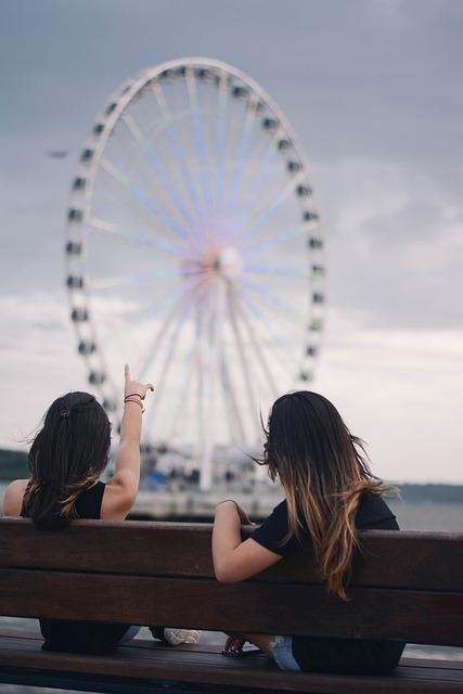 Bench, Ferris Wheel, Girls, People, Pointing, Sitting