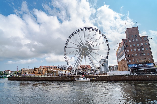 Gdansk, Poland, Water, Building, Polish, Architecture