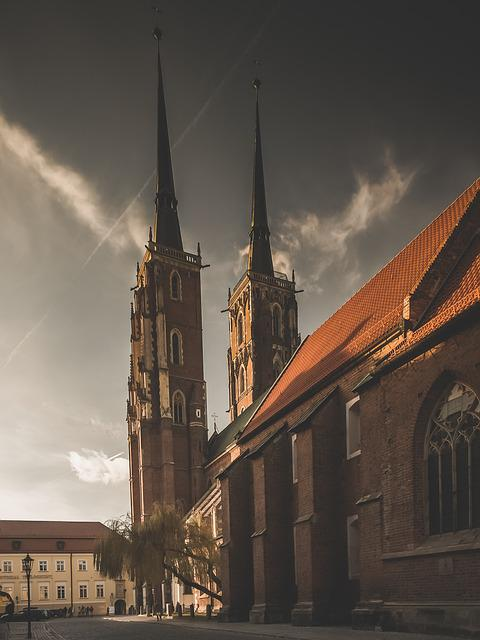 Tower, Cathedral, Island, Wroclaw, Poland, Building