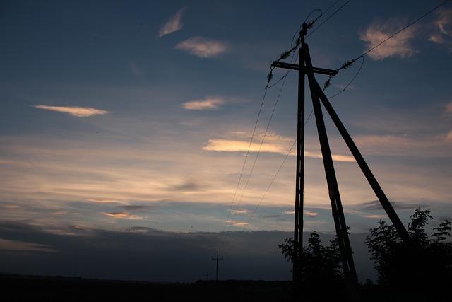 Sunset, Column, Pole, Sky, Blue, Cloud