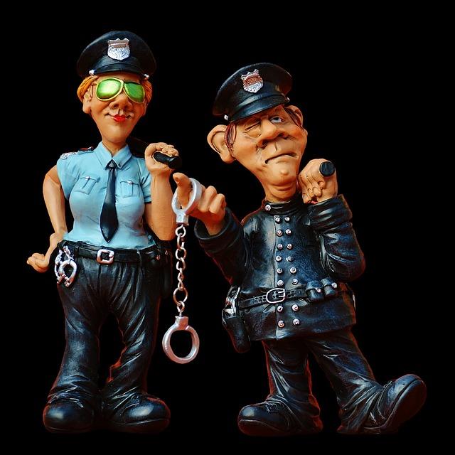 Cop, Policewoman, Colleagues, Funny, Figure, Police