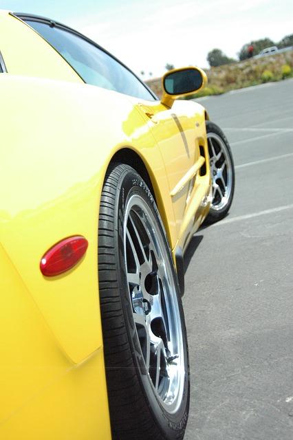 Z06, Corvette, Polished Wheels, Yellow Corvette, Ocean