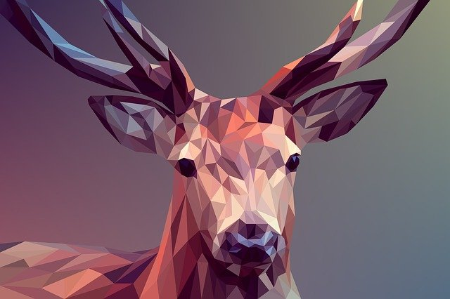 Poly, Low, Animal, Deer, Vector, Art, Polygon