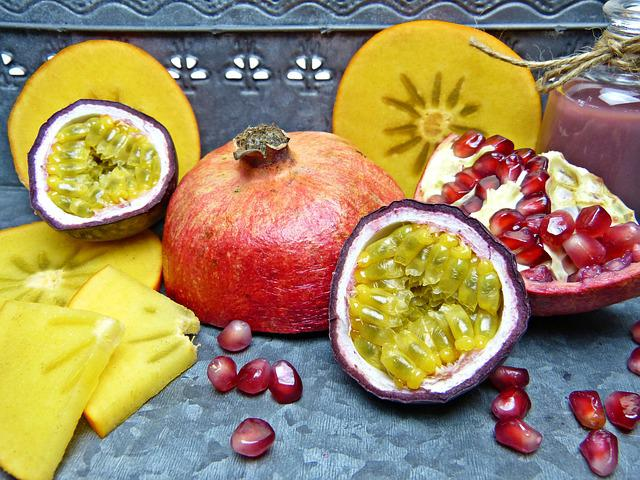 Pomegranate, Pomegranate Seeds, Passion Fruit, Persimon
