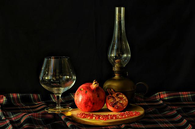 Pomegranate, Table, Glass, Lamp, Texture, Scotland