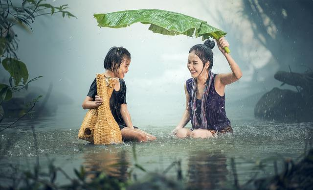 Woman, Young, Rain, Pond, Cambodia, Girl, Happy, Kids