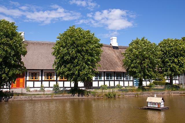 Pond, Farm, Houses, Half-timbered, Idyll, Denmark