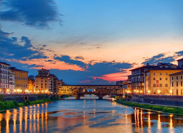 Sunset, Florence, Italy, Ponte Vecchio