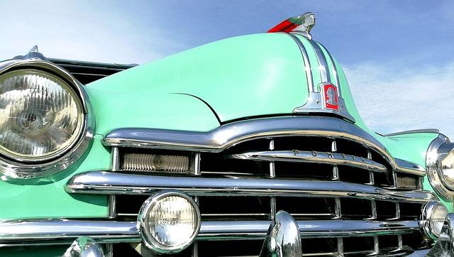 Car, Former, Pontiac, Bodywork, Green, Chrome, Old Car