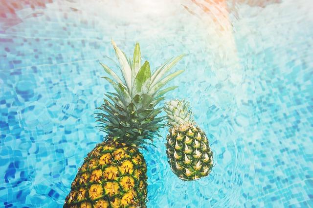 Pineapple, Swimming Pool, Fresh, Pool, Water, Blue