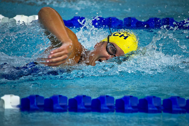 Swimming, Swimmer, Female, Race, Racing, Pool, Water