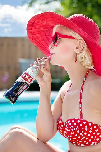 Summer, Pool, Woman, Red, Vacation, Water, Resort