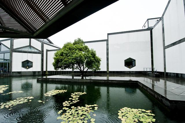 Suzhou Museum, Pool, Rain, Design, Window, Tree