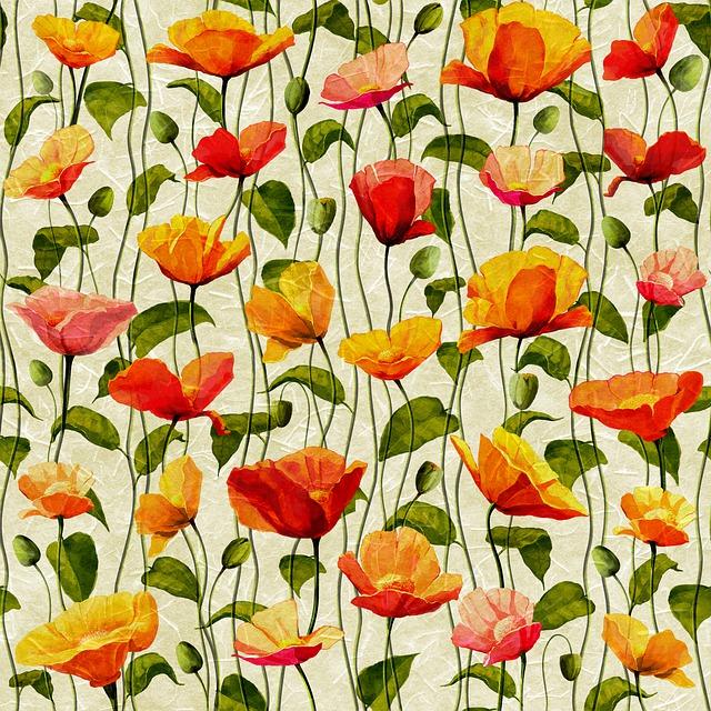 Digital Paper, Poppies, Pattern, Invitation