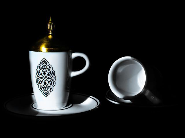 Cup, Coffee Cup, Ceramic, Saucer, Gold, Porcelain