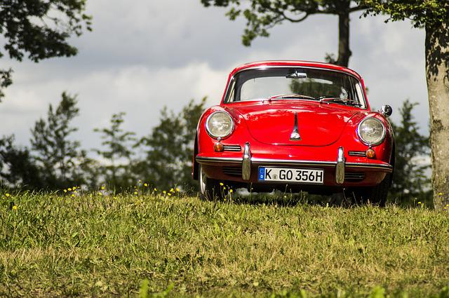 Porsche, Red, Car, Groom, White, Grass, Classic