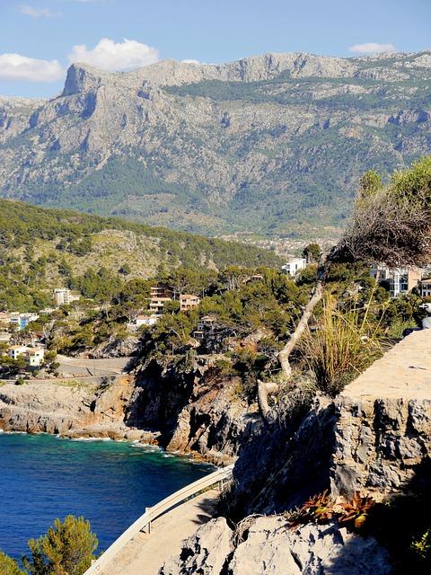 Spain, Mallorca, Coast, Beach, Port, Mountains