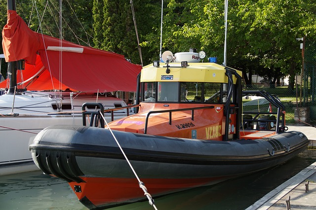 Ship, Boat, Inflatable, Fast, Port, Berthed, Motorboat