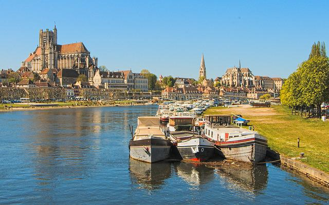 Burgundy, Auxerre, Panorama, City, Port, Yonne