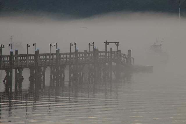 Peer, Dock, Mist, Fog, Lake, River, Sea, Harbour, Port