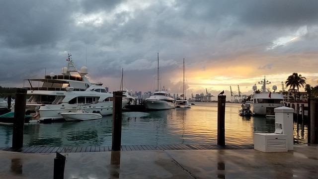 Harbor, Miami, Fisher Island, Florida, Port, Docks