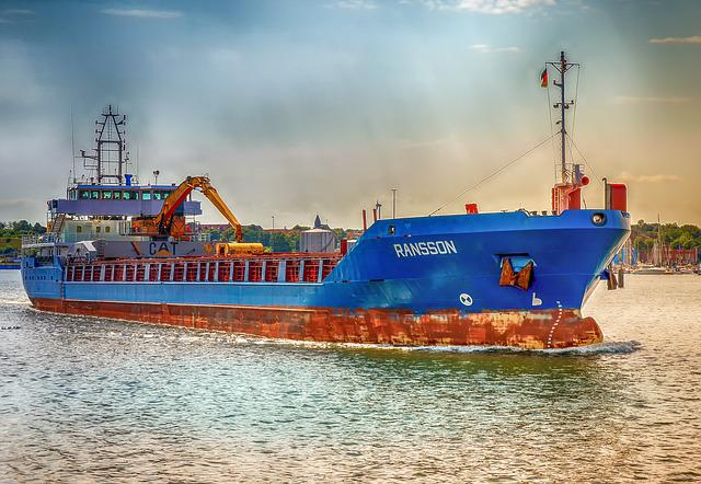 Ship, Freighter, Technology, Metal, Rusty, Blue, Port